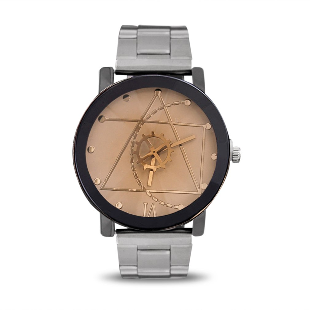 Fashionable Gear Pointer Watch Vintage British Style Wrist Watch Compass Dial Wristwatch Men Women Lovers Quartz Watch