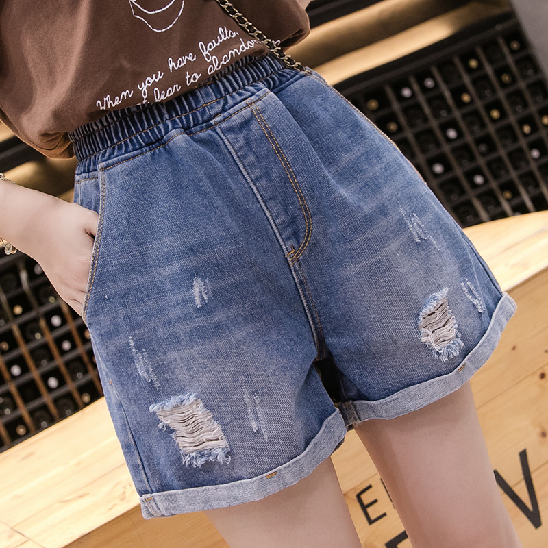 S-5XL Plus Size Summer Women's Denim Shorts Elastic High Waist Fashion Female Blue Ripped Jeans