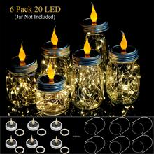 6 Pack Solar Mason Jar Lights with Candle Flame Top-6 Handles Included, 20 Led String Fairy Firefly Lights Lids 6 pack kit turn any wide mouth mason jar into a fermenting crock