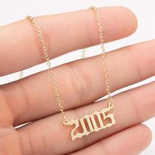 Aço inoxidável jóias personalizadas data especial número do ano colar para mulher 1997 1998 1999 2000 de 1980 a 2005 colares mujer