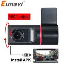 Eunavi Автомобильный видеорегистратор с камерой 140 градусов HD 720P Передняя видеокамера для Android автомобильный радиоплеер USB DVR камера