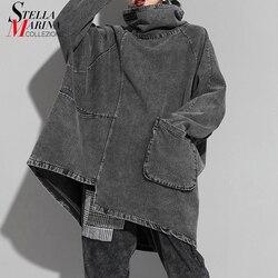 Новинка 2019, корейский стиль, женская зимняя мода, винтажный серый пуловер, толстовка размера плюс, водолазка, женские свободные толстовки J214