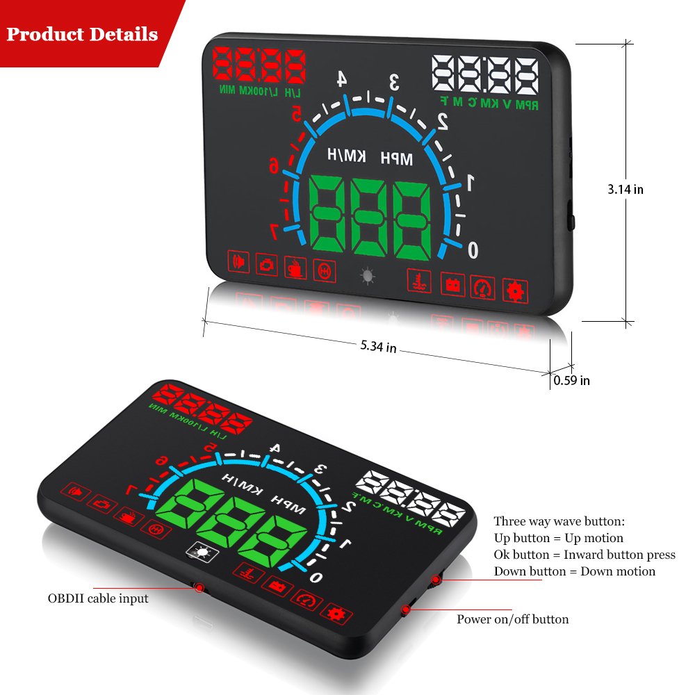 E350 OBD2 HUD Car Display 5.8 Inch Screen Easy Plug And Play Overspeed Alarm Fuel Consumption display hud projector