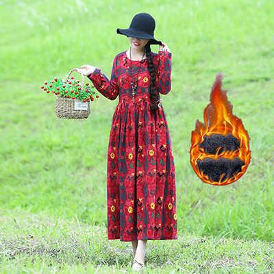 חדש 2020 חורף נשים חם קטיפה מקסי ארוך שמלת חג המולד עבור נשים מודפס פרחוני בציר שמלות vestido Dropshipping LX2452