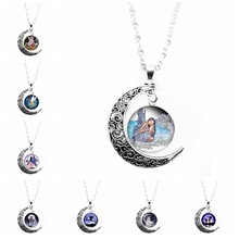 2019 New Dark Angel Wings Fairy Tale Round Glass Image Convex Ladies Month Necklace Handmade Moon Chain