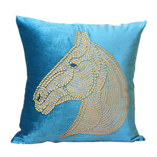 Flat Velvet Pillowcase Decorative For Sofa Throw Pillow Hot Drillint Horse Head cushion Cover Decoration Pillows For Living Room(China)