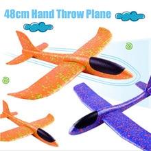 35 cm DIY ילדים צעצועי יד לזרוק עף מטוסי דאון קצף מטוס דגם זוהר בחושך עף דאון מטוס צעצועים לילדים