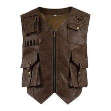 Cosdaddy Оуэн Грейди косплей костюм PU охотничий жилет мужская кожаная куртка мир Хэллоуин косплей Юрского периода