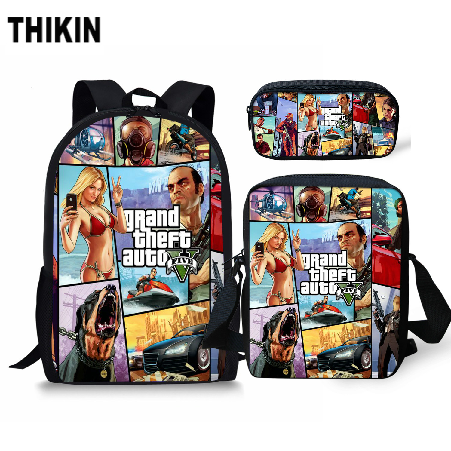 THIKIN 2019 Hot Games GTA 5 Print Schoolbag Personalized Pattern Book Bags Teenagers School Backpack Custom Child Mochila