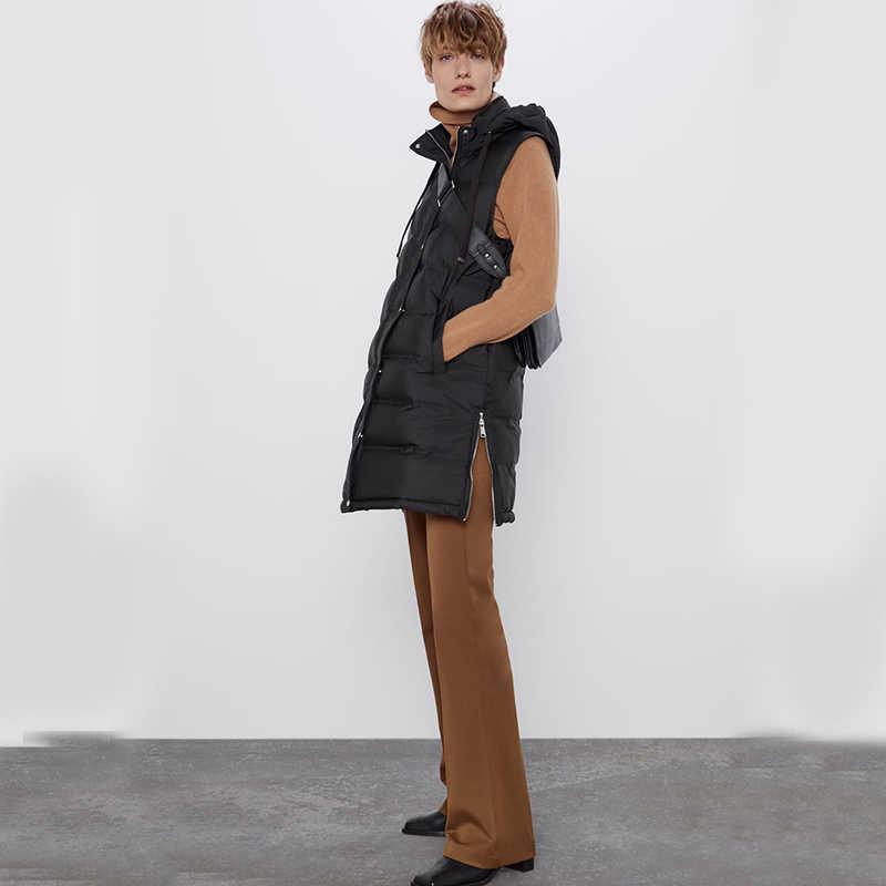 Ladyfirsy ZA Herfst Winter Mode Katoenen Vest Vrouwen Kraag Hooded Zipper Pocket Mouwloze Losse Dikke Warme Katoenen Vest Jas