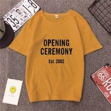 OPENING CEREMONY дата с буквенным принтом, Детская футболка с принтом Футболки Для женщин Harajuku Повседневное унисекс футболка tumblr уличная Стиль эстетику Топы Прямая