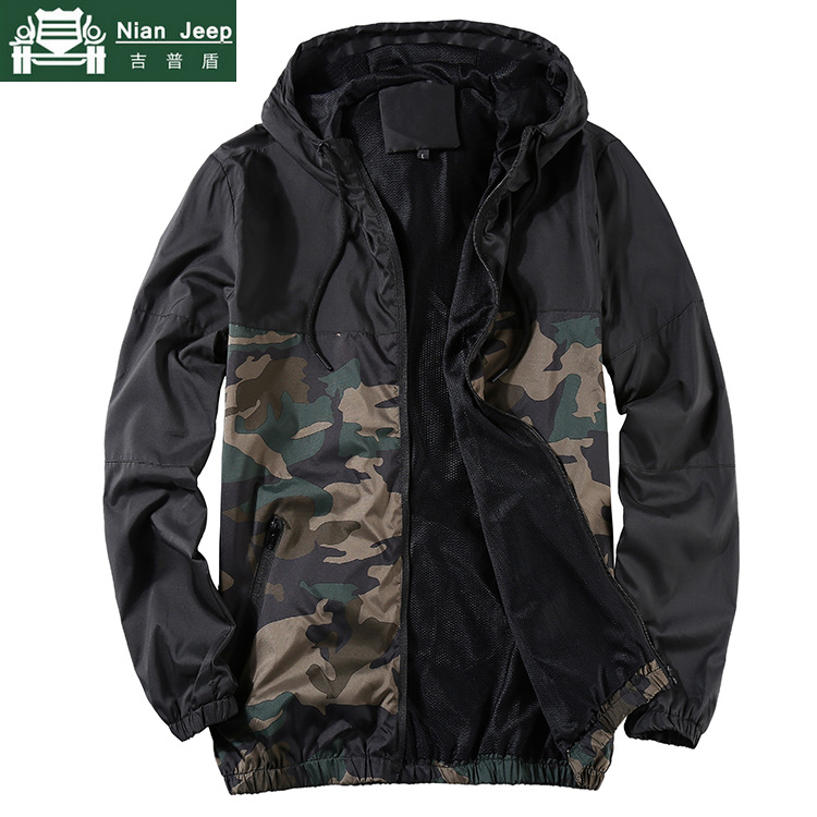 Hooded Coat Jackets Spring Patchwork Sunproof Men Streetwear Autumn Male Camouflage New