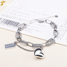 925 Sterling Thai Silver Heart Charms Bracelet Double Chains Bracelets Bangles Fine Jewelry Women Trendy Cute Original Design 925 sterling silver thai handcrafted individual trendy leaf frosted fine bracelet creative feather lady s ring accessories