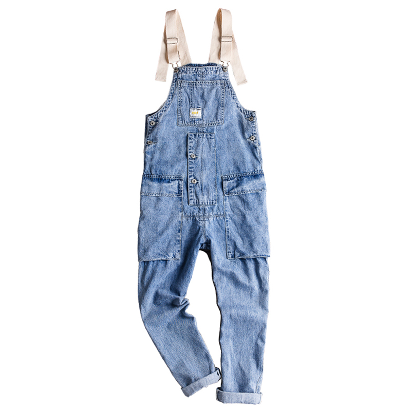 Sokotoo Men's Loose Pockets Denim Jean Bib Overalls Hip Hop Light Blue Suspenders Jumpsuits Jeans