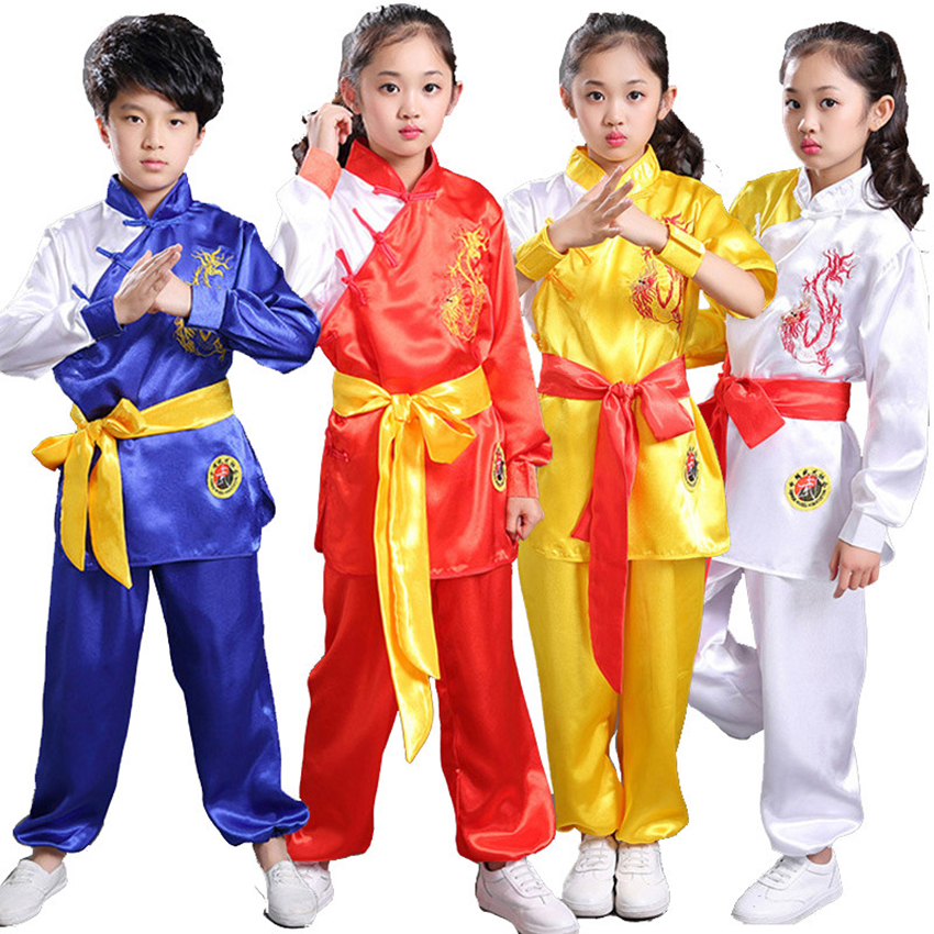 110-160cm Kung Fu Children's Day Wushu Clothing Tai Chi Uniform Hanfu Traditional Chinese Costumes For Kids Baby Girl Boy