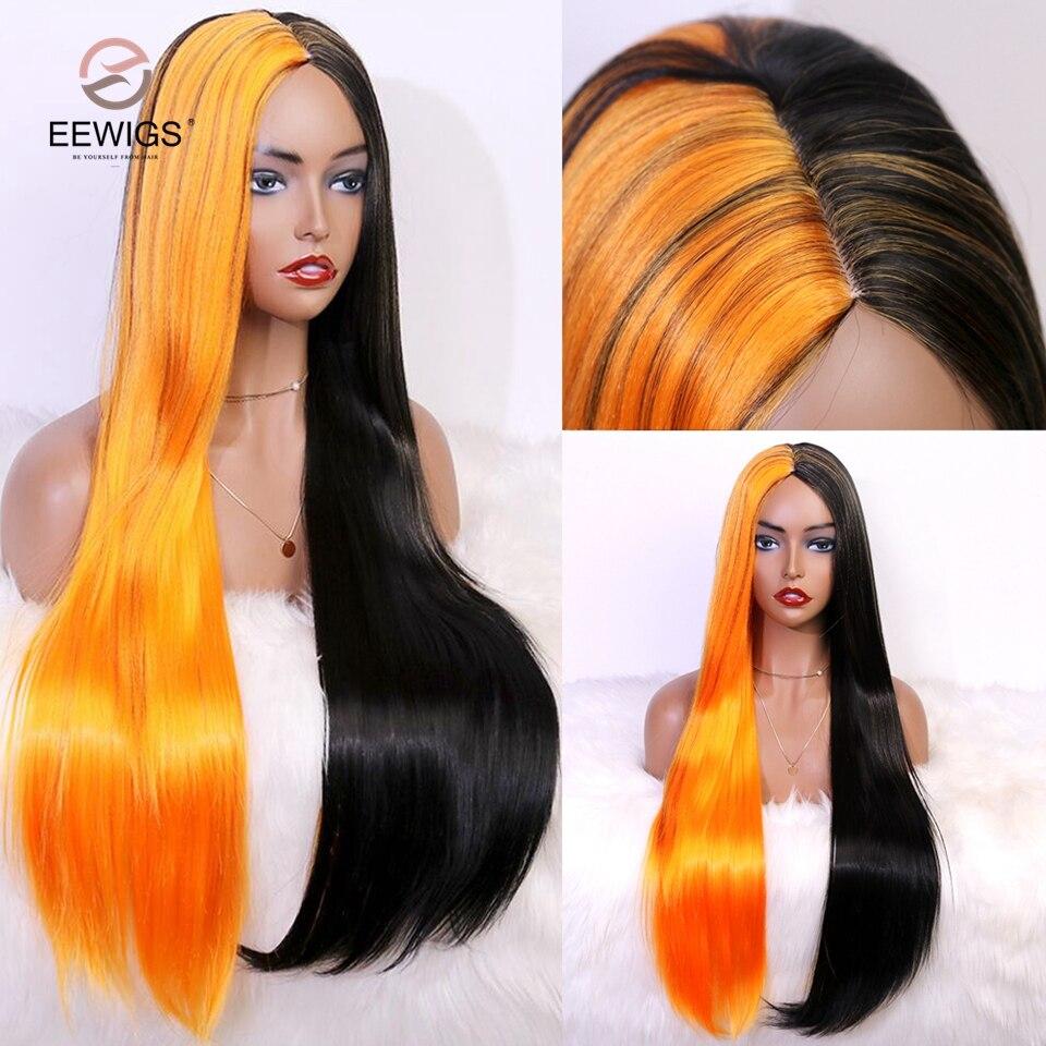 EEWIGS-Peluca de cabello sintético para mujeres negras, pelo liso degradado resistente al calor, color gris, Rubio y marrón, sin encaje
