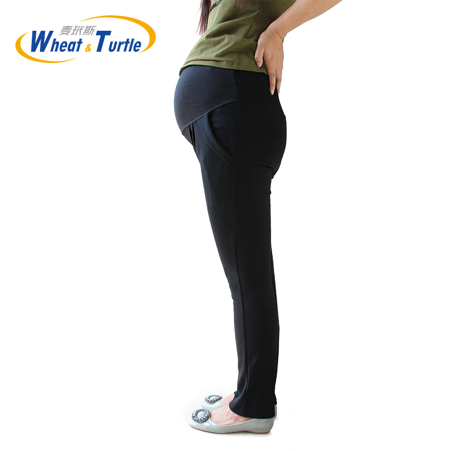 Good Quality Cotton All Match All Season Suitable Black Maternity Capris Big Size Comfortable Harlan Pants For Pregnant Women