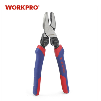 WORKPRO 8 inch Electrical Plier Flat Nose Plier Offset Pistol Handle Combination Pliers Cable Wire Cutter bosi tool 7 labor saving combination plier with double color tpr handle