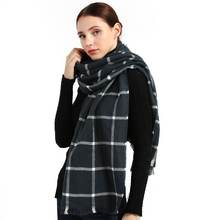 Winter fashion plaid cashmere scarf for women warm long pashmina