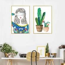 Современный плакат с маленькой девочкой и ее КАКТУСОМ hd печать