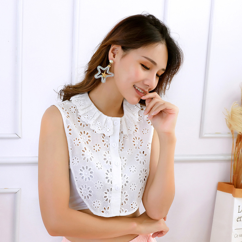 Fake False Collar Choker Necklace Hollow Embroidery Shirt Women Collar High Collar Female Cotton Removable Detachable Collars