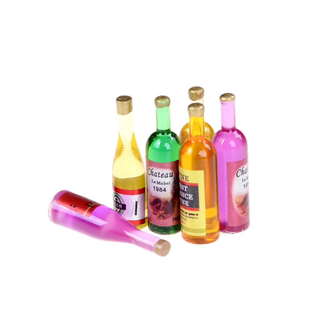 6 шт./партия кухонные бутылки для вина 1:12 кукольный домик миниатюрная мебель разноцветная кукла дом винные бутылки