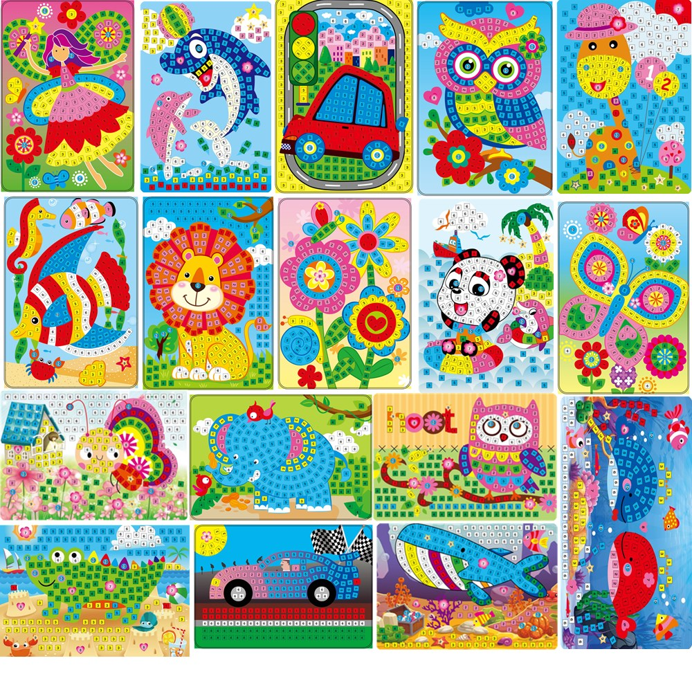 Handmade Children Puzzle DIY Foam&crystal Stickers Art EVA Cartoon Animal Crystal 3D Sticker Creative Educational Toys For Kids