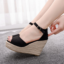 Plus Size 32-44 Women Sandals New 2020 Summer Wedges Sandals Shoes Woman Peep Toe Ankle Strap Platform Ladies High Heels Sandals prova perfetto new rome wedges sandals women rivet t strap high heels sandals real leather ankle buckle peep toe ladies sandals