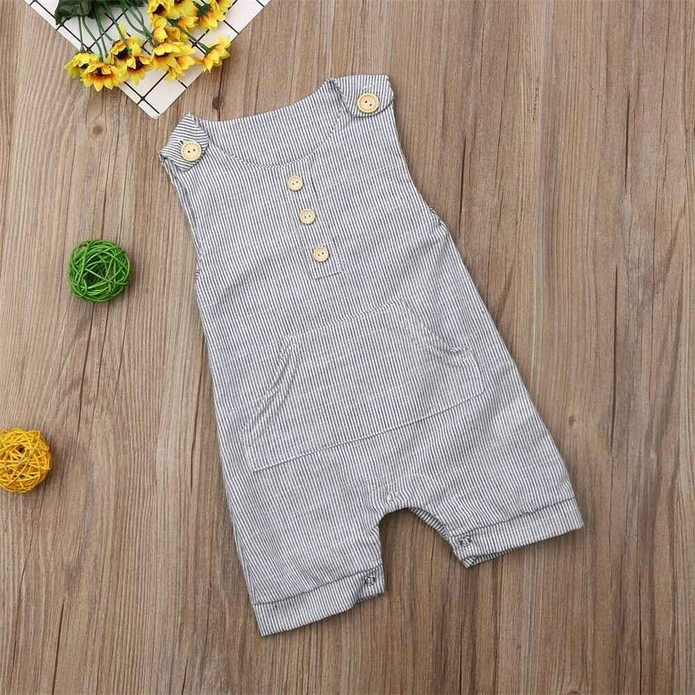 Ropa de recién nacido para niño y niña, pelele, Tops, mono, pantalones cortos, Pelele de una pieza sin mangas, mono de rayas con cuello redondo