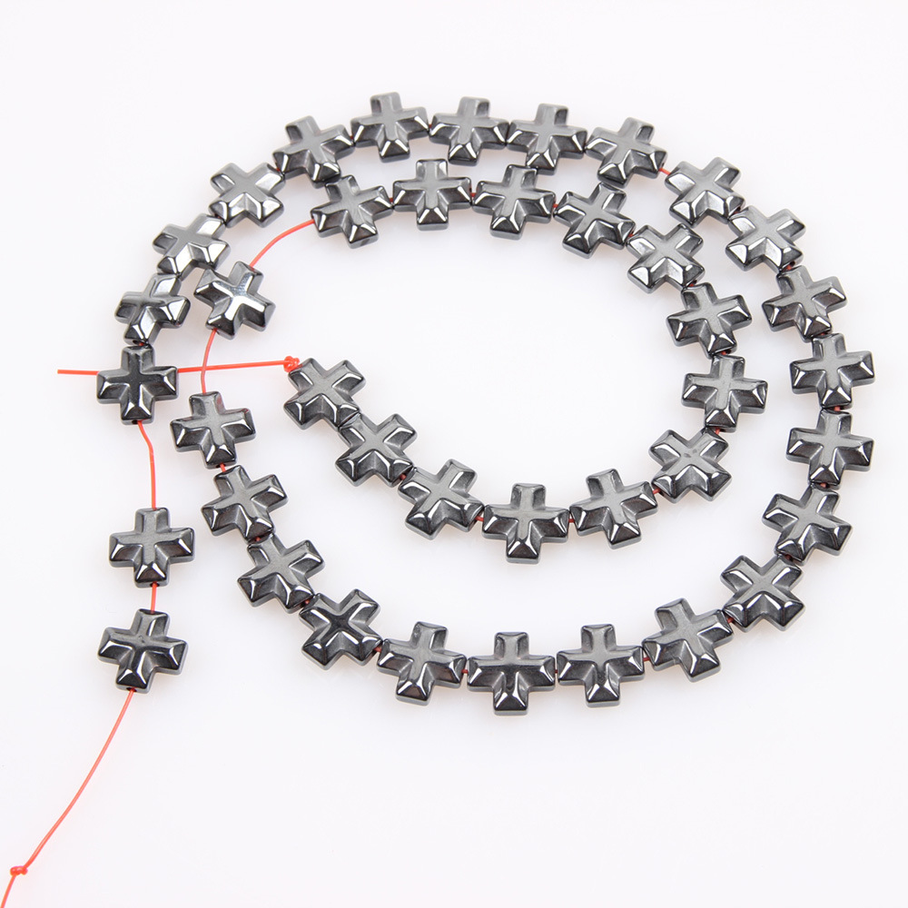 1 strand/pack AAA 6/8/10/12mm Stone Hematite loose Flat Cross spacer beads black For DIY Jewelry Making