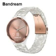 Żywica Watchband dla Garmin Vivomove HR 3 3 S/Vivoactive 4 4S 3/Venu Luxe Style kobiety mężczyźni Watch Band zapięcie ze stali nierdzewnej pasek