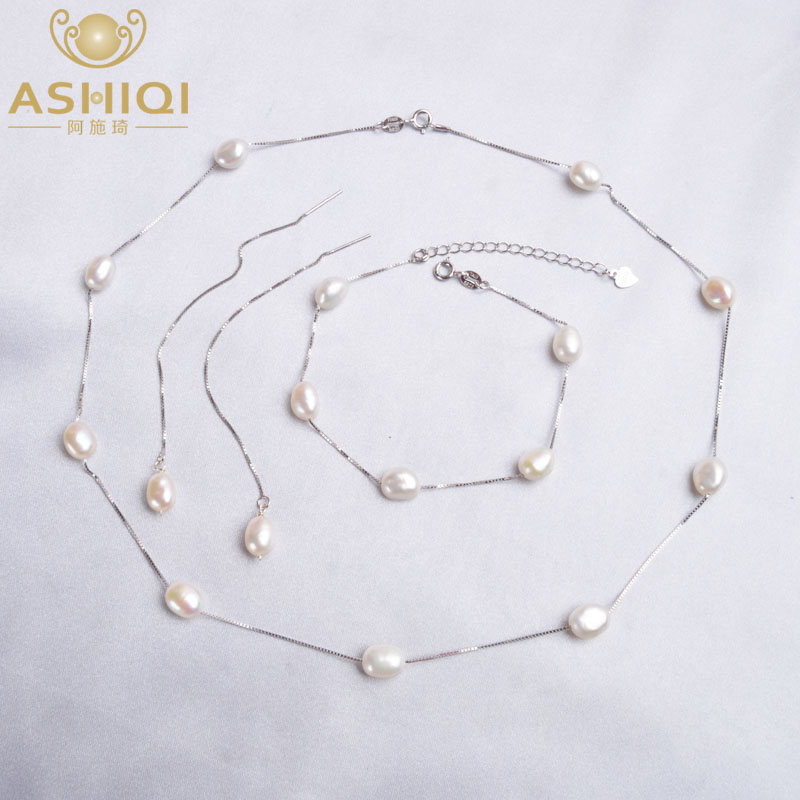 ASHIQI Real 925 Sterling Silver Natural Freshwater Pearl  Jewelry Sets Necklace Bracelet Earrings For Women Fashion 2020 New