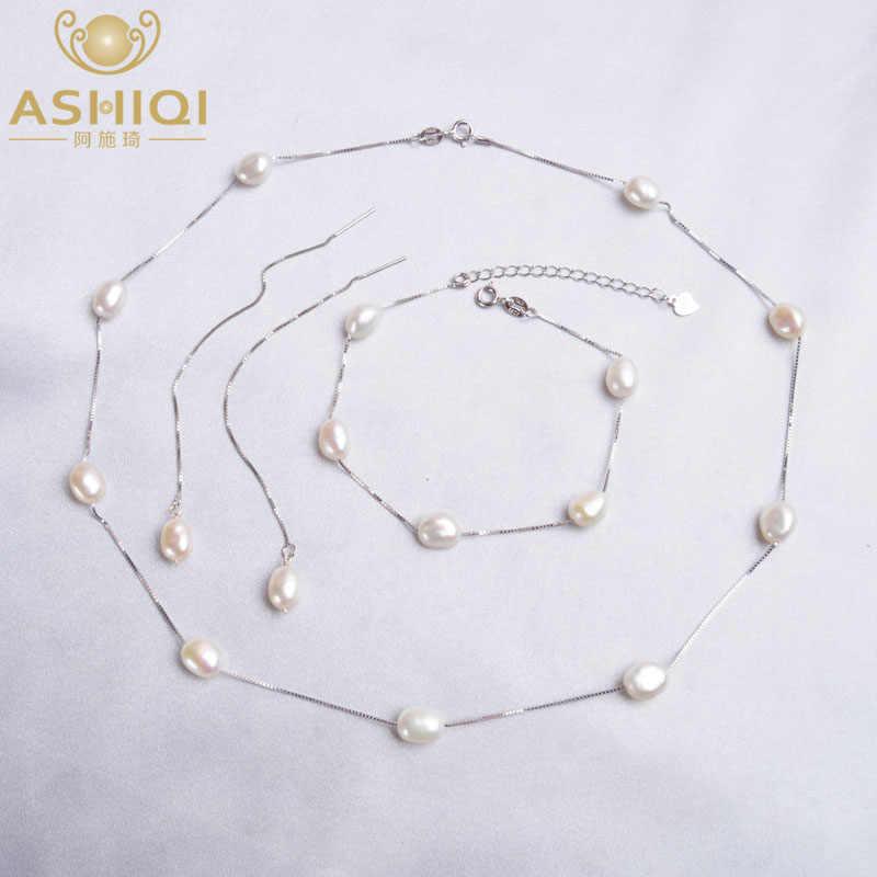Ashiqi joias, prata esterlina 925, prata natural, pérola, conjuntos de jóias, colar, brincos pulseira para mulheres, moda feminina, 2020
