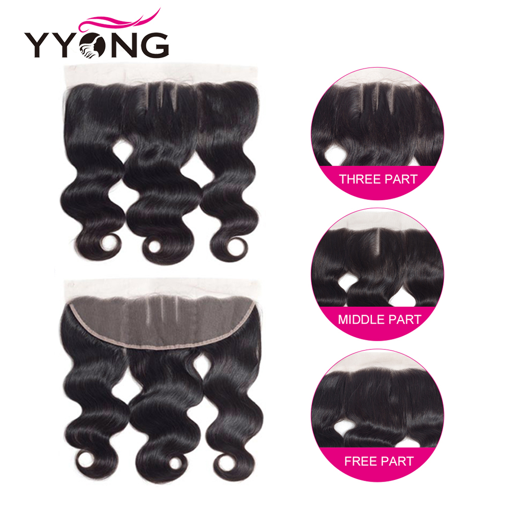 Yyong Hair 3 Bundles  Body Wave With Frontal  Bundles With 13X4 Ear To Ear Lace Frontal 5