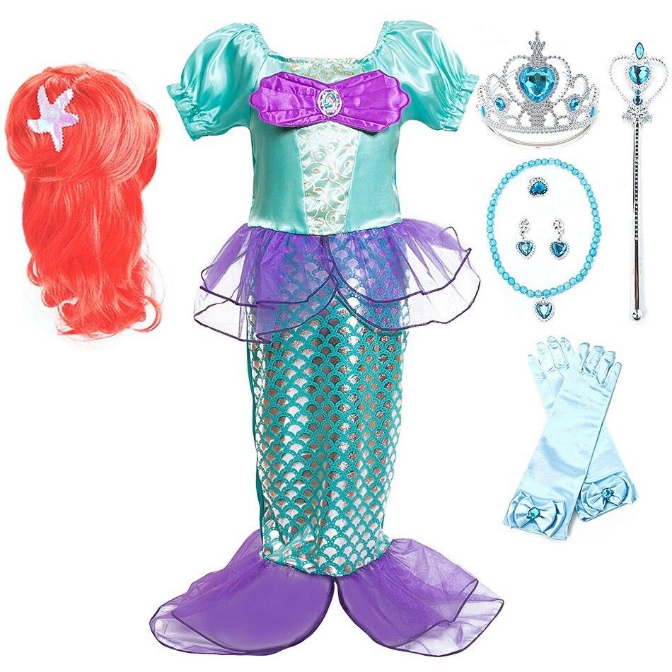 Küçük kızlar Mermaid elbise yaz prenses kostüm doğum günü partisi fantezi elbise çocuk karnaval kıyafet 3 4 5 6 8 10 yıl