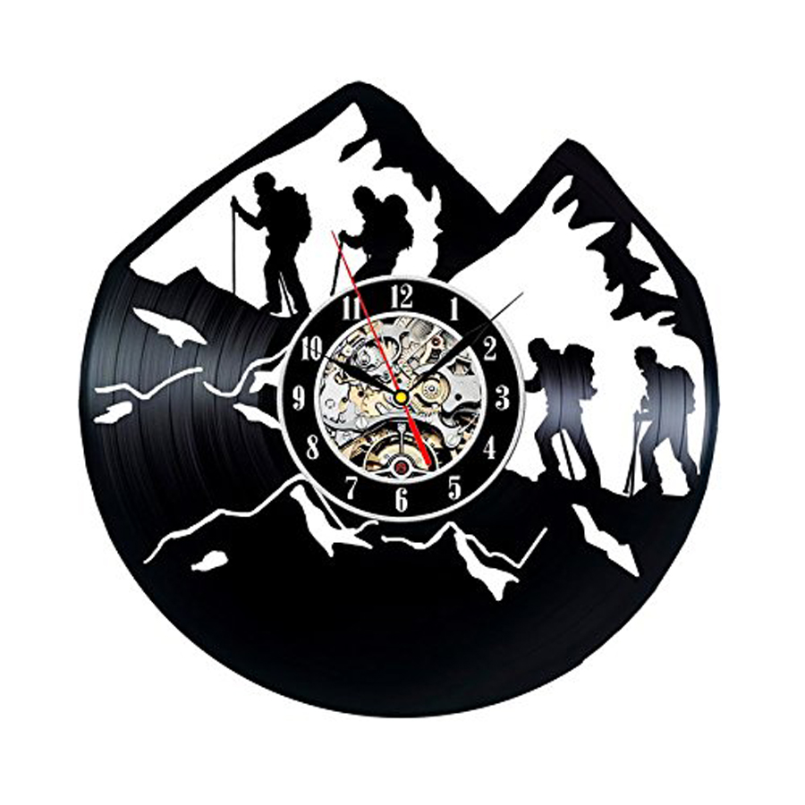 Vinyl Record Wall Clock Modern Design Outdoors Sport Theme Climbing Mountain 3D Decorative Hanging Clocks Wall Watch Home Decor