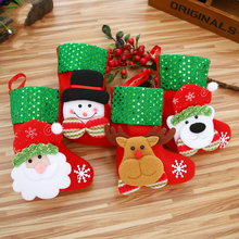 New Christmas Stockings Decoration Socks Sequins Flannel Tree Home Gift Clip Year Bag