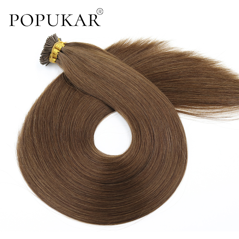 Popukar Peruvian Remy Cuticle Aligned Hair Light Brown 0.66g/strand Straight Pre Bonded Fusion I Tip Hair Extension Human Hair