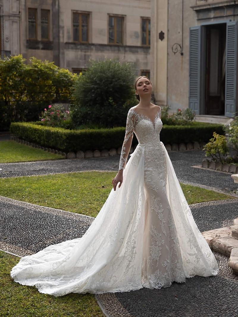 Bridal-Gown Detachable Train Wedding-Dress Neck-Beading Lace Mermaid Appliques Long-Sleeve