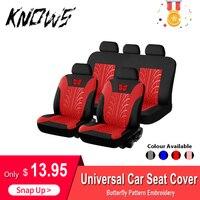 Funda de asiento de coche  conjunto General de funda de asiento de coche  funda de asiento Universal bordada con patrón de mariposa  conjunto completo de accesorios interiores