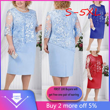 Big Size 5XL 6XL Women Dress Plus Size Sequin Short Midi Dress Ladies Party Dress vestidos de fiesta de noche robe femme Sale(China)