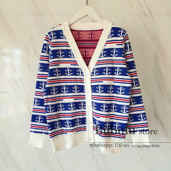Vintage Blue Navy Striped Knitted Cardigan sweater women Autumn runway High Quality female Retro Cardigans casual sweaters S-L