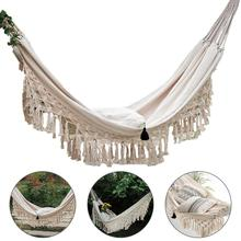 White Outdoor Hammock Portable Hammock Garden Sports Home Travel Camping Swing Canvas Stripe Hang Bed Hammock 200 x 150cm