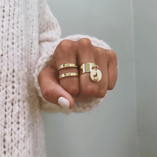 Gold color Retro simple Knuckle Rings For Women Vintage Geometric Pattern Crystal Ring Set Party Bohemian Jewelry 2 PCS/Set