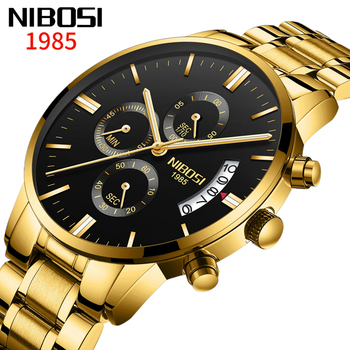 NIBOSI New Fashion Mens Watches Analog Quartz Wristwatches 30M Waterproof Chronograph Auto-date Luxury Watch Men Montre Homme image