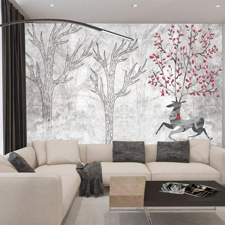 3D European Style Wallpaper Mural Living Room Television Background Wall Wallpaper Northern European-Style Brick Wall Elk Sofa R