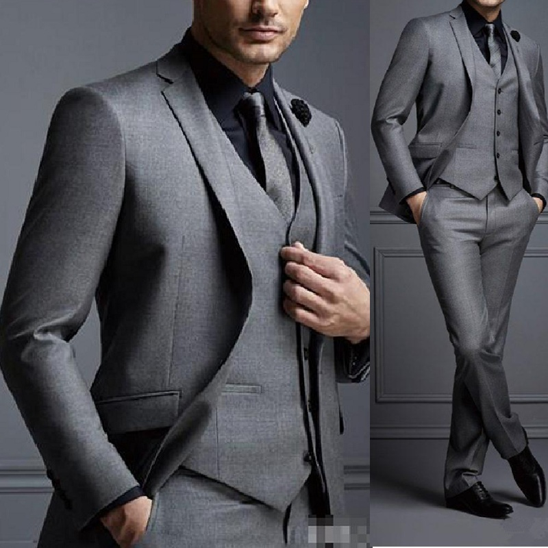 Grey Men Suits Cheap Groom Suit Formal Man Suits For Best Men Slim Fit Groom Tuxedos For Man(Jacket+Vest+Pants) 1