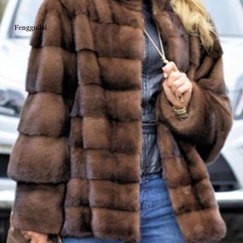 Winter Faux Fur Coat New Fashion Overcoat Woman Medium Style Stand Collar Fox Fur Loose Imitation Fur Jackets Plus Size S-4XL