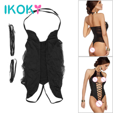 IKOKY Sexy Lingerie Open Crotch Perspective Costumes Sex Underwear Exotic Apparel