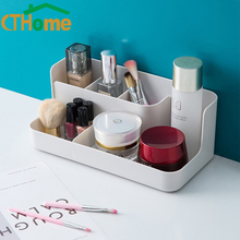 цены Plastic Makeup Organizer Bathroom Storage Box Cosmetic Organiser Office Desktop Make Up Jewelry Storage Box Sundries Container